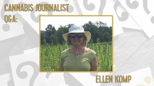 A photos of Ellen Komp promoting cannabis action