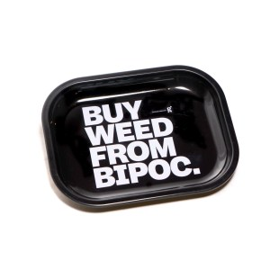 a photo of grasslands rolling tray that says, buy weed from bipoc