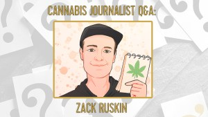 a cartoon of cannabis journalist Zack Ruskin